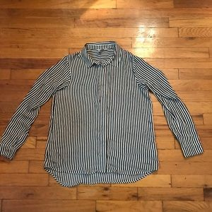 Black white horizontal stripe button down blouse